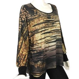 New Directions Black Brown Animal Abstract Top M